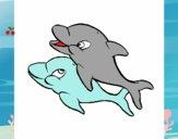 Dibujo Delfines 1 pintado por sheyla13
