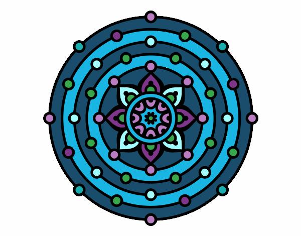 Dibujo Mandala sistema solar pintado por bonfi