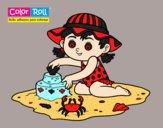 Dibujo Niña playera Color Roll pintado por vale26