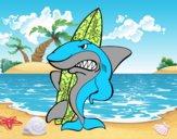 Dibujo Tiburón surfero pintado por salomerua
