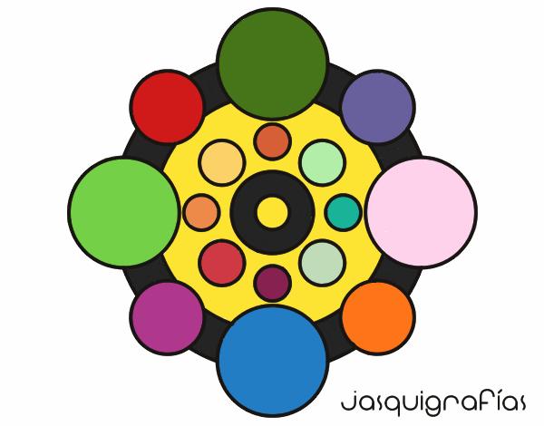 Dibujo Mandala con redondas pintado por bonfi