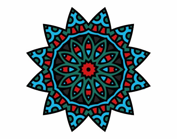 Dibujo Mandala estrella pintado por bonfi