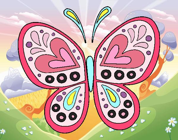 Dibujo Mandala mariposa pintado por carolina28