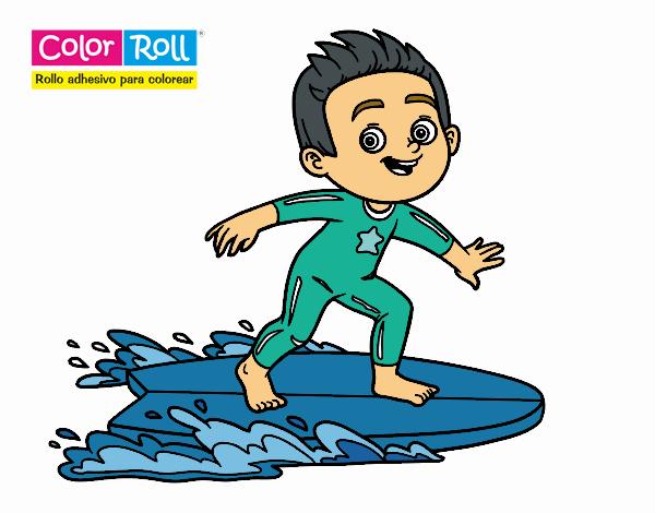 Dibujo Niño surfista Color Roll pintado por lina200714