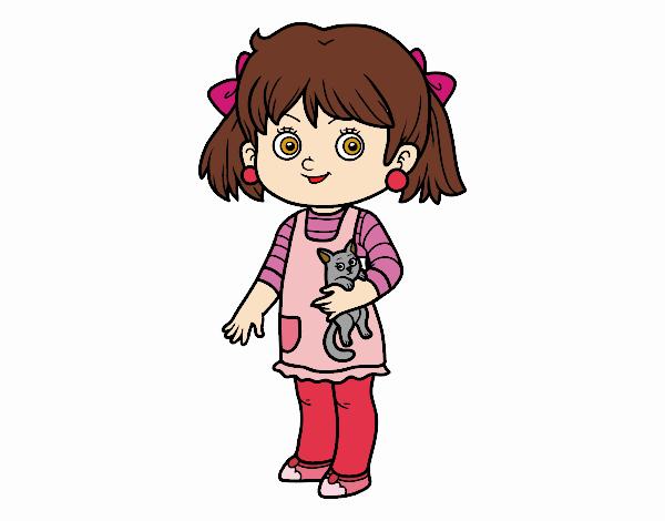 Una niña con gatito