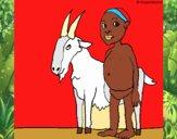 Cabra y niño africano