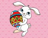 Conejo con huevo de pascua