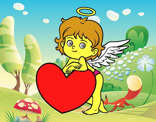 Cupido y un corazón