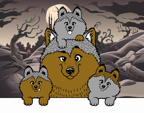 Dibujo Familia Husky pintado por LISYERLYS