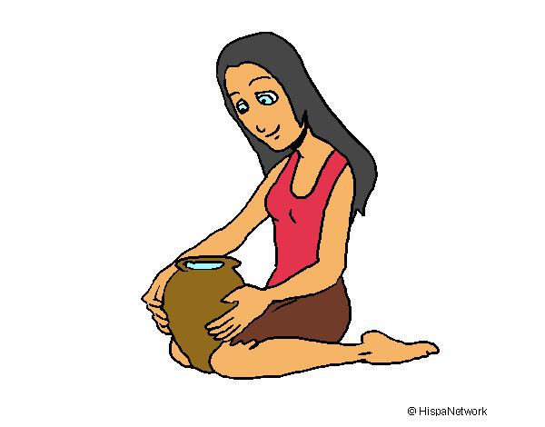 Mujer y jarrón