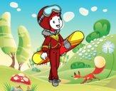 Una chica Snowboard