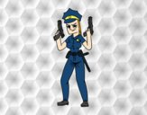 Una mujer policia