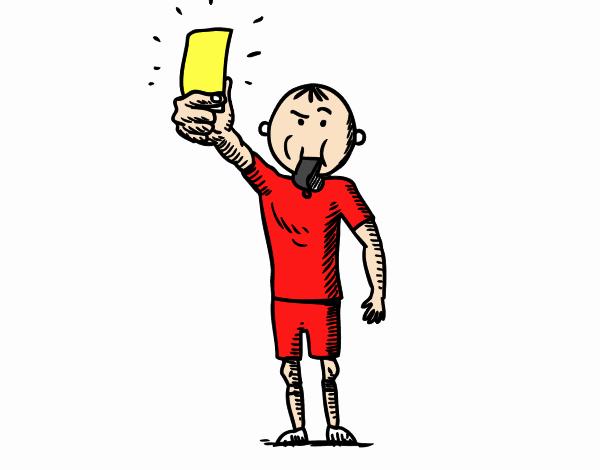 Árbitro sacando tarjeta