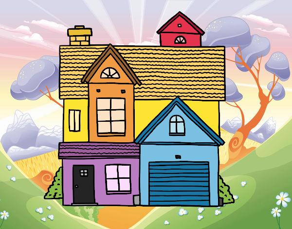 Dibujo Casa unifamiliar americana pintado por LosPrimos6
