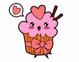 Dibujo Cupcake kawaii con lazo pintado por yuridia31