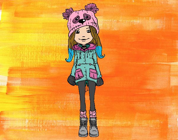 Dibujo Niña con gorro y abrigo pintado por LosPrimos6