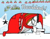 Santa Claus mirando por la chimenea