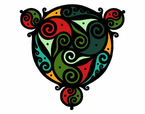 Dibujo Mandala con tres puntas pintado por bonfi