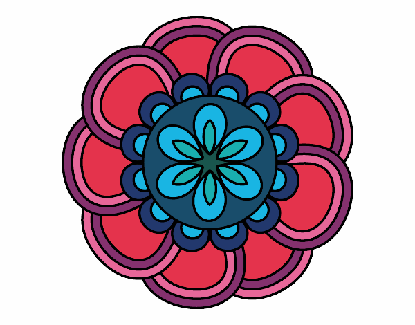 Dibujo Mandala de pétalos pintado por bonfi