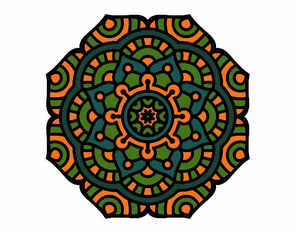 Dibujo Mandala flor conceptual pintado por bonfi