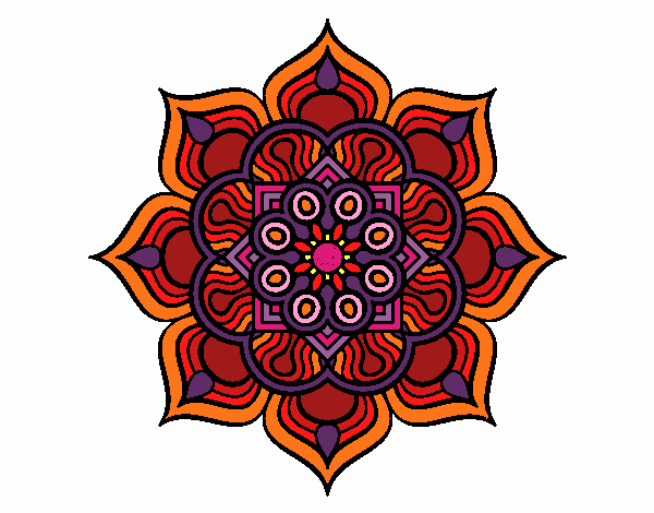 Dibujo Mandala flor de fuego pintado por bonfi