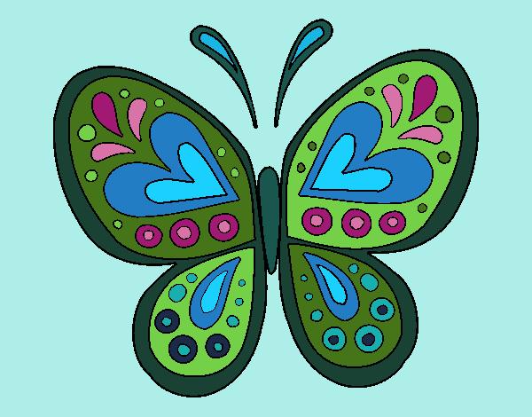 Dibujo Mandala mariposa pintado por bonfi
