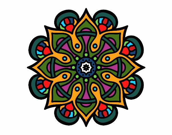 Dibujo Mandala mundo árabe pintado por bonfi