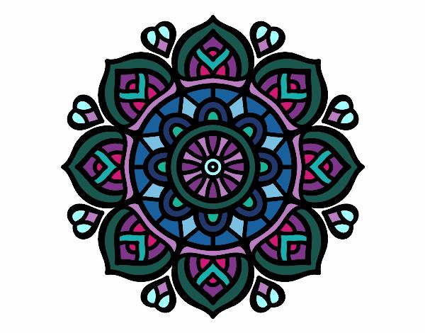Dibujo Mandala para la concentración mental pintado por bonfi