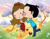 Novios bailando enamorados
