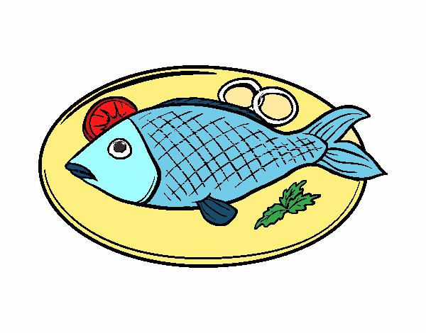 Dibujo Plato de pescado pintado por albabm24