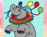 Dibujo Elefante con 3 globos pintado por SILUFU