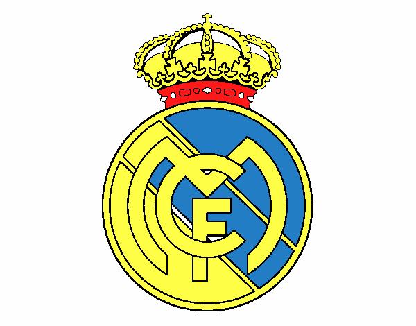 Dibujos Del Real Madrid Para Imprimir Y Colorear: Dibujo De Escudo Del Real Madrid C.F. Pintado Por En