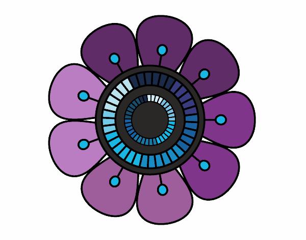 Dibujo Mandala en forma de flor pintado por bonfi