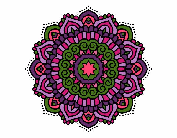 Dibujo Mandala estrella decorada pintado por bonfi