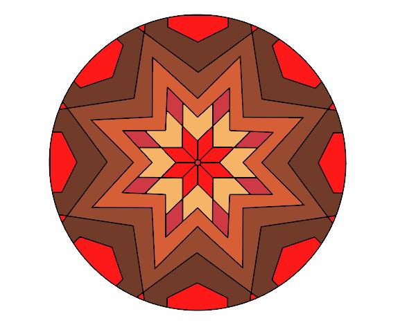 Dibujo Mandala mosaico estrella pintado por bonfi