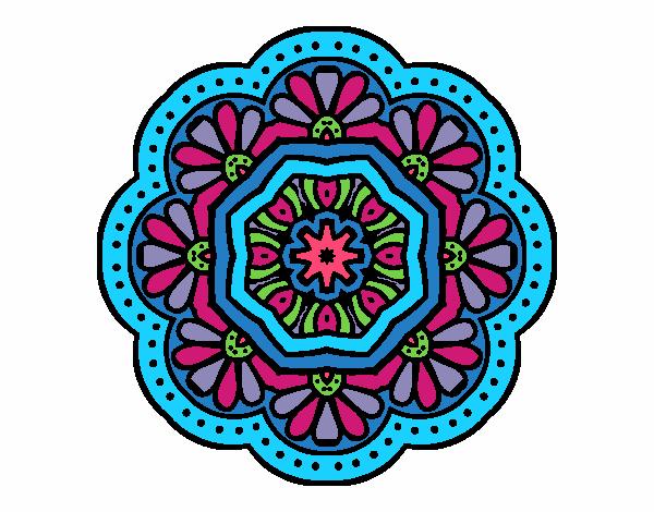 Dibujo Mandala mosaico modernista pintado por bonfi