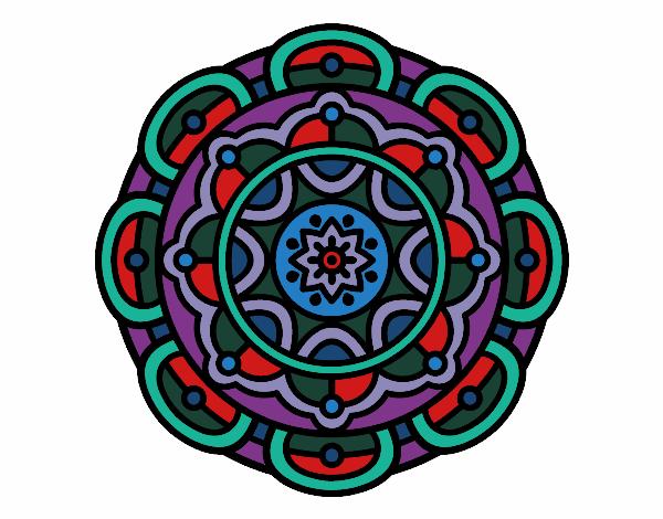 Dibujo Mandala para la relajación mental pintado por bonfi
