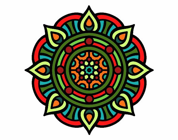 Dibujo Mandala puntos de fuego pintado por bonfi