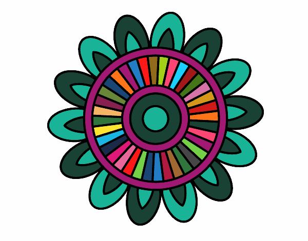 Dibujo Mandala solar pintado por bonfi