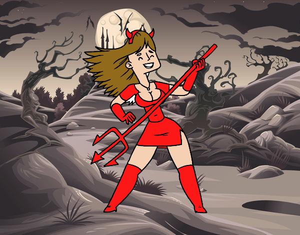 Mujer disfrazada de demonio
