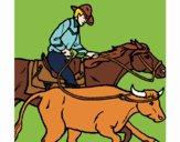 Dibujo Vaquero y vaca pintado por SILUFU