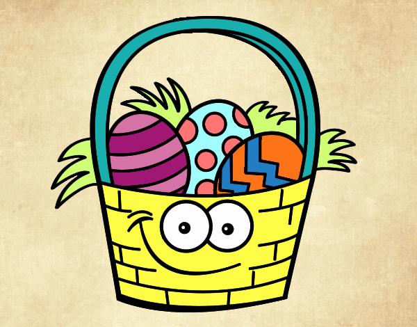 Cesto con huevos de pascua
