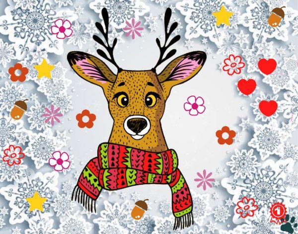 Dibujo Ciervo con bufanda pintado por cuyito