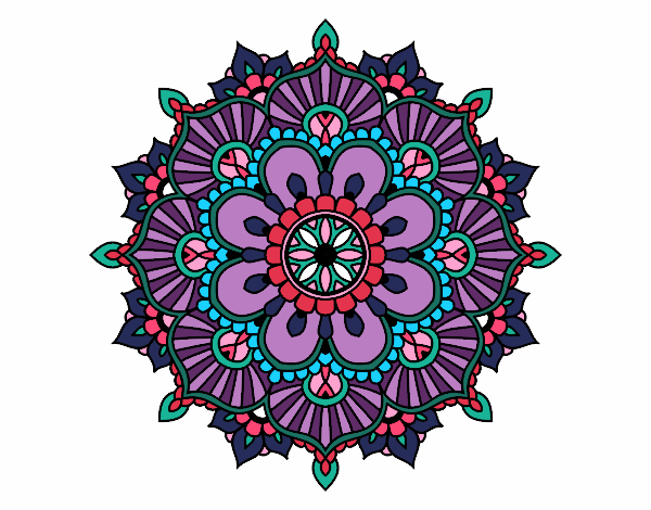 Dibujo Mandala destello floral pintado por bonfi