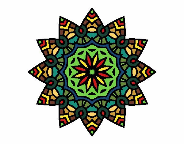 Dibujo Mandala estrella floral pintado por bonfi