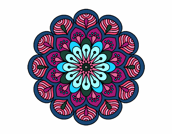 Dibujo Mandala flor y hojas pintado por bonfi