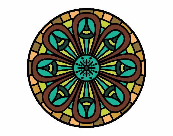 Dibujo Mandala lápices crecientes pintado por bonfi