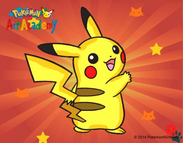 Dibujo Pikachu de espaldas pintado por cuyito
