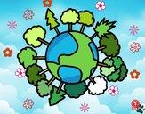 Dibujo Planeta tierra con árboles pintado por cuyito