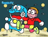 Doraemon y Nobita corriendo